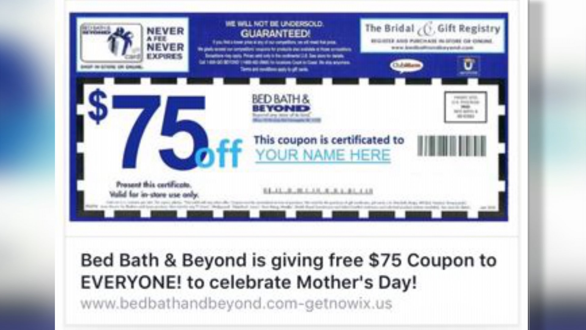 VERIFY Mothers Day coupons on