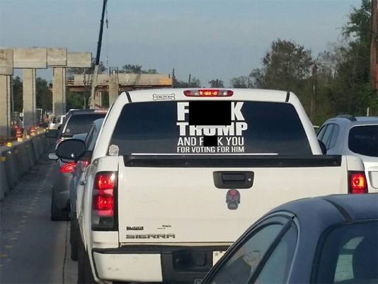 Houston-area sheriff goes after driver with 'offensive' anti-Trump decal