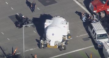 NASA space vehicle rolls into downtown for Super Bowl